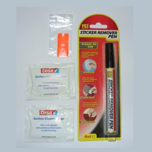 Sticky stuff remover pen, plastic scraper blade and isopropyl-alcohol wipes